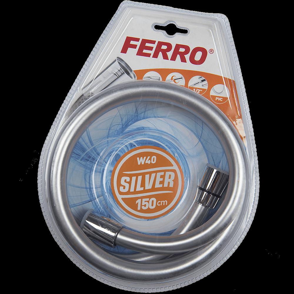Furtun pentru dus Ferro, crom, 150 cm, argintiu