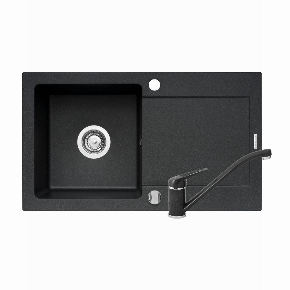 Chiuveta de bucatarie + baterie Minuet, 76 x 44 mm, negru imagine 2021 mathaus