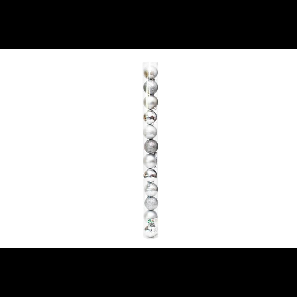 Set 12 globuri decorative de Craciun, plastic, 6 cm