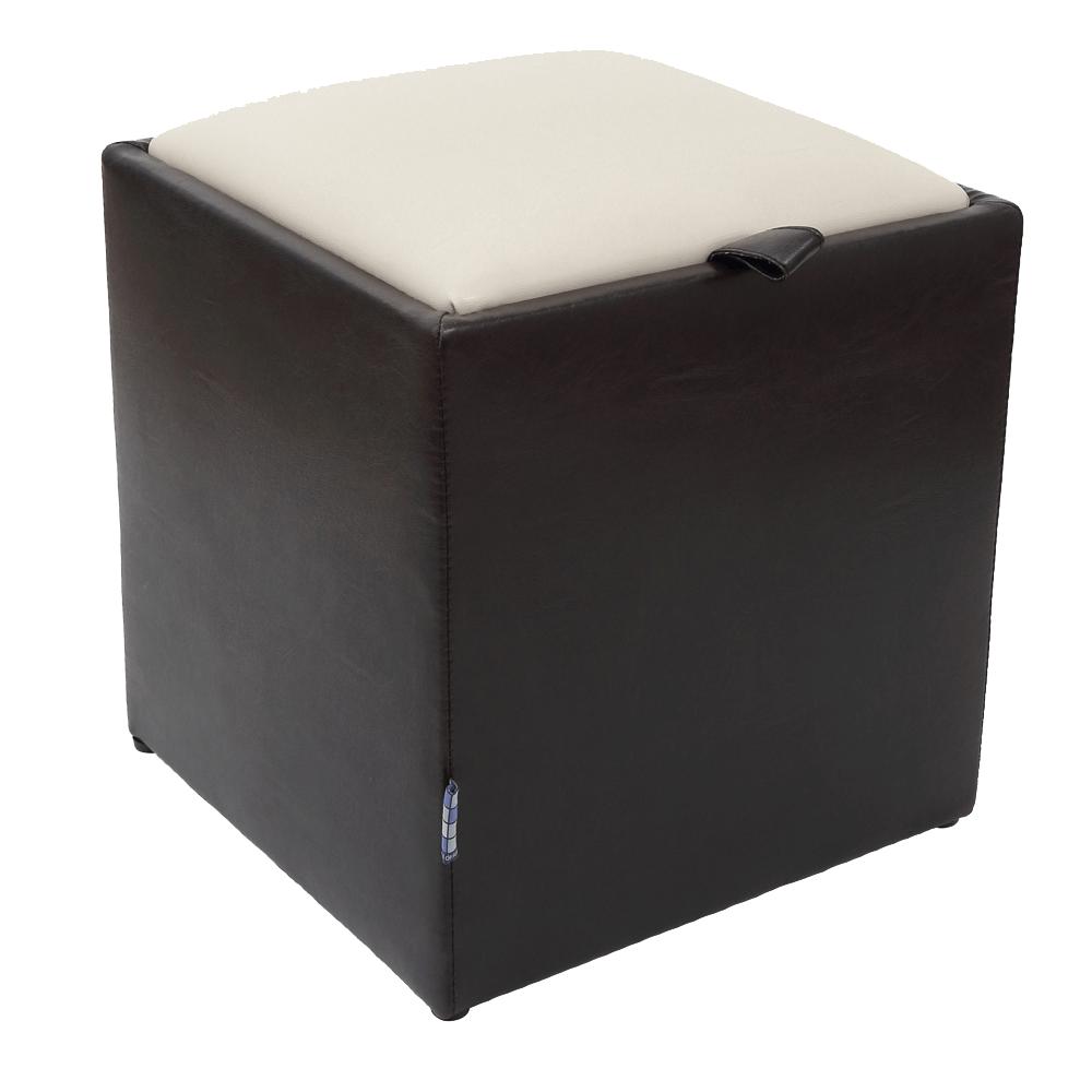 Taburet Box piele ecologica maro/crem, cu depozitare imagine MatHaus.ro