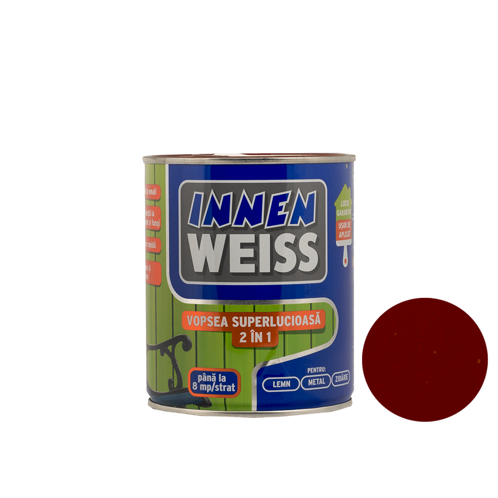 Vopsea superlucioasa Innenweiss 2 in 1, interior si exterior, maro, 0,6 L