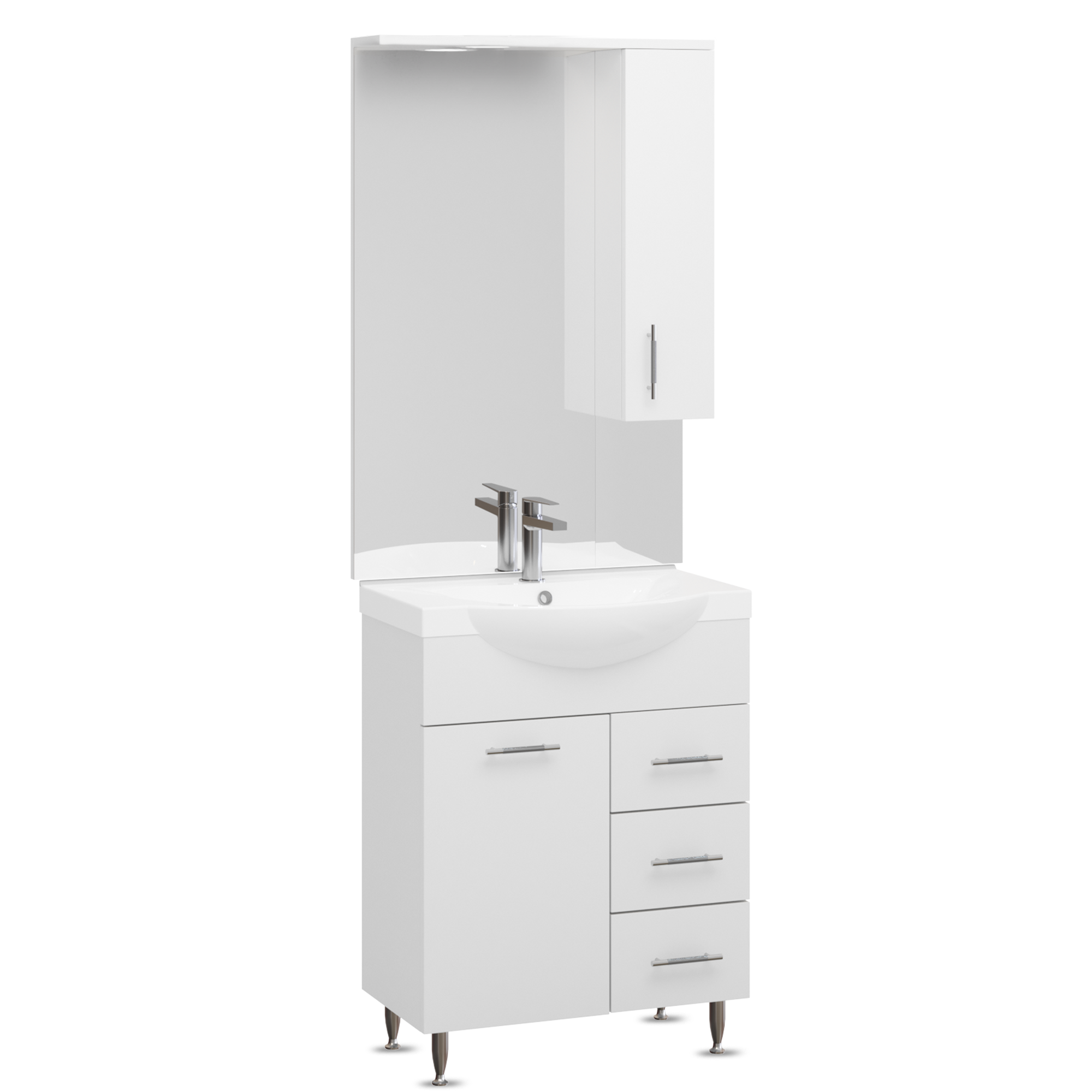 Set mobilier baie Badenmob Seria 153-65, masca cu sertare + lavoar + oglinda, alb imagine 2021 mathaus