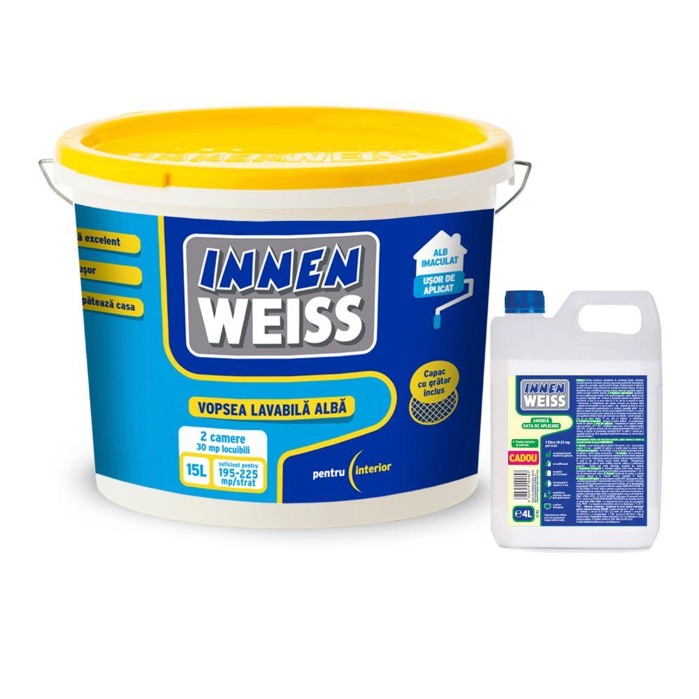 Vopsea lavabila interior alba Innenweiss, 15 L + Amorsa 4 l imagine 2021 mathaus