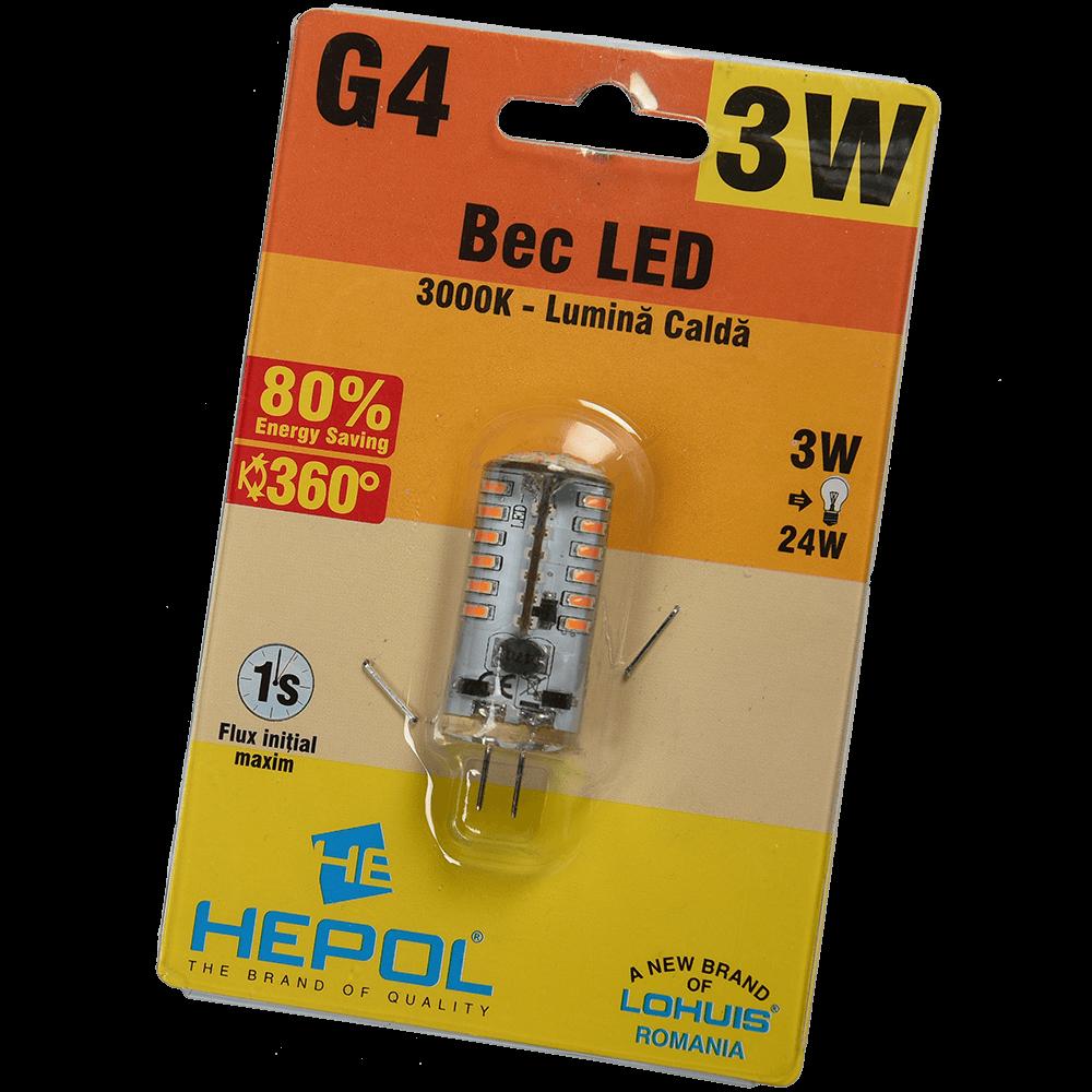Bec Led Silicon G4 3W Hepol Lumina Calda