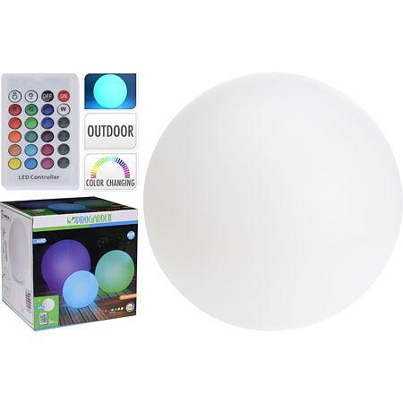 Lampa LED sfera alba, de gradina, 6 x LED, 25 cm + telecomanda