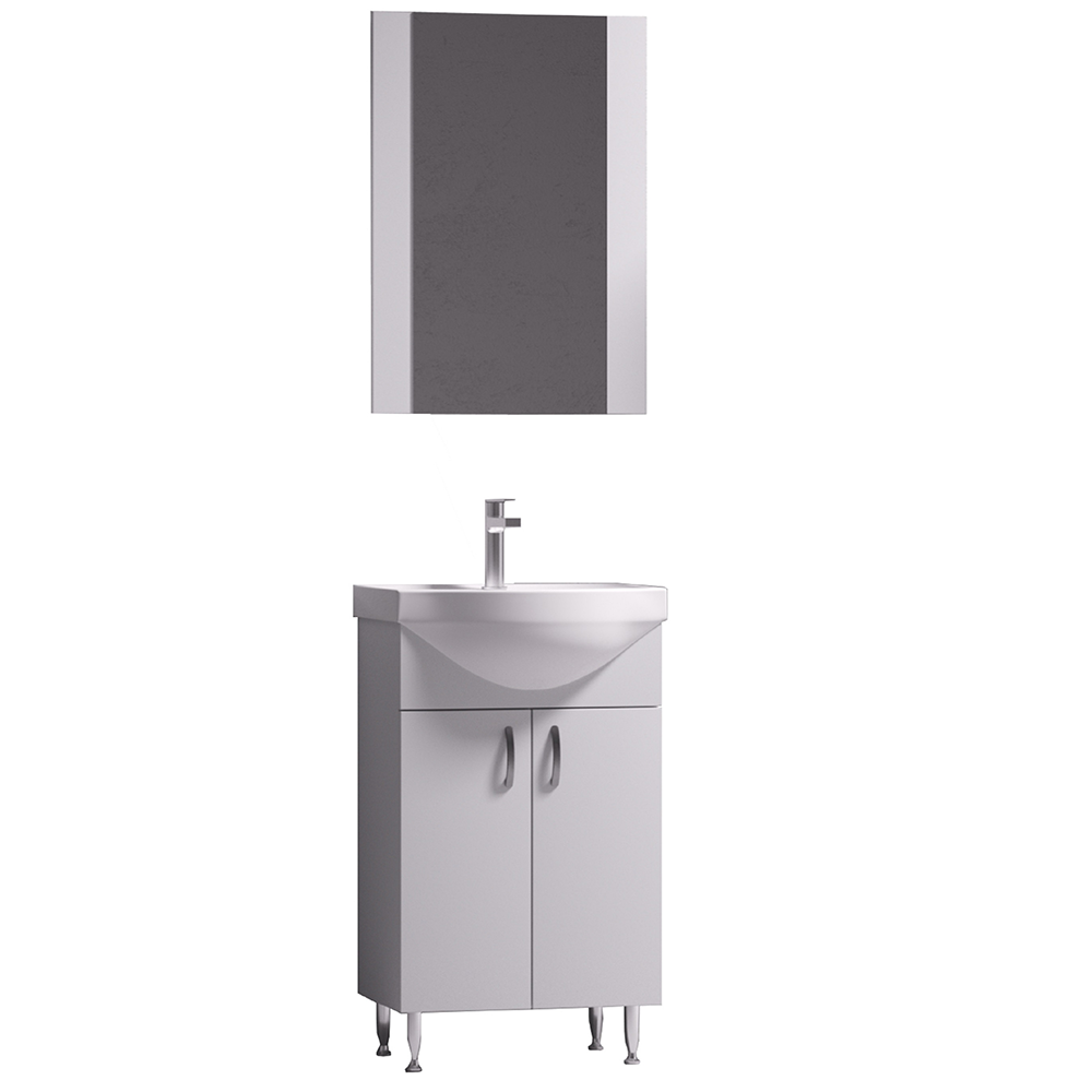 Set mobilier baie Badenmob Eco 51, masca + lavoar + oglinda, alb imagine 2021 mathaus
