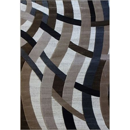 Covor modern Geo Hand Carved 7168, polipropilena heat set, model abstract bej/maro, 200 x 290 cm