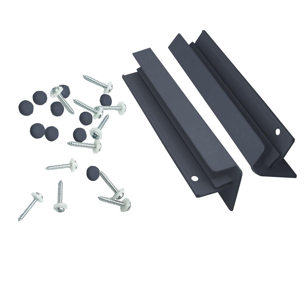 Set accesorii pentru glafuri din aluminiu, L: 24 cm, RAL 7016 imagine MatHaus.ro