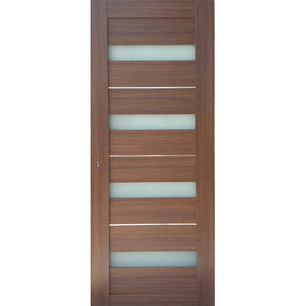 Usa interior cu geam Pamate U76, stejar auriu, 203 x 80 x 3,5 cm + toc 10 cm, reversibila imagine MatHaus.ro