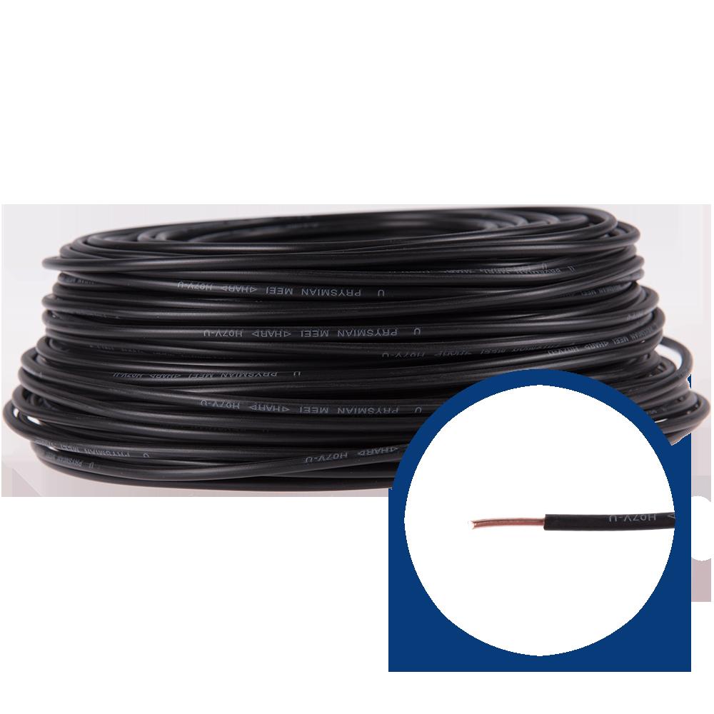 Cablu electric FY (H07V-U) 4 mmp, izolatie PVC, negru