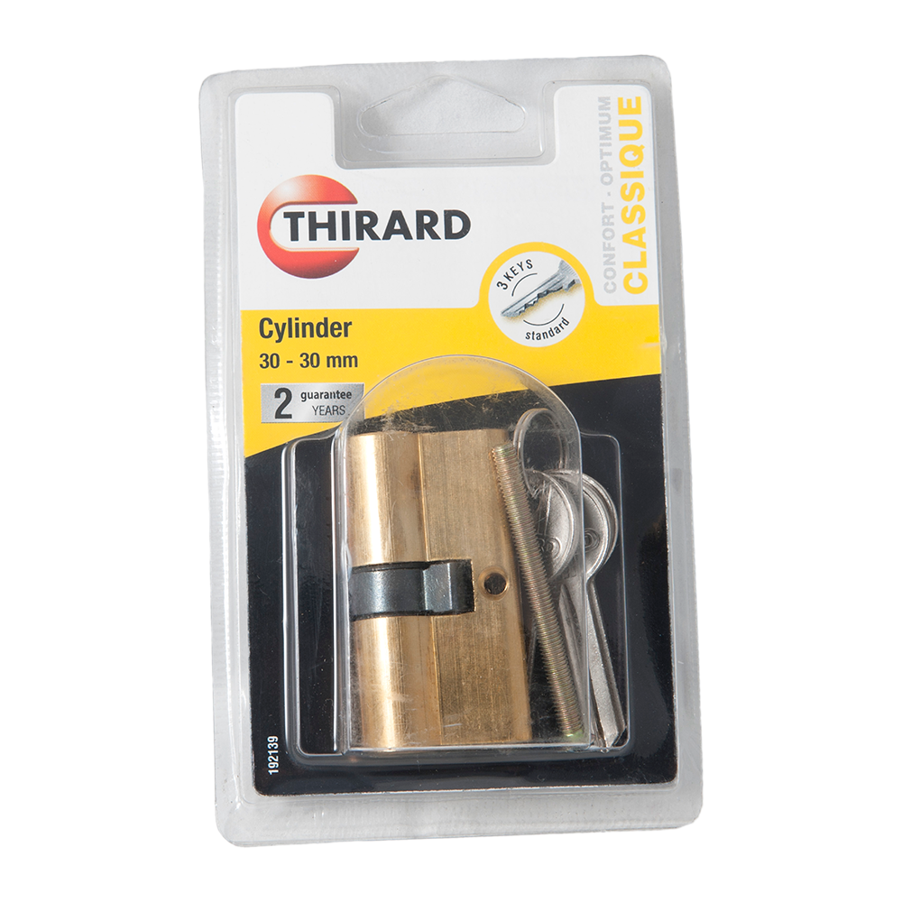 Cilindru de siguranta cu 5 pini, Thirard SA Series, alama nichelata, 30 x 30 mm, 3 chei