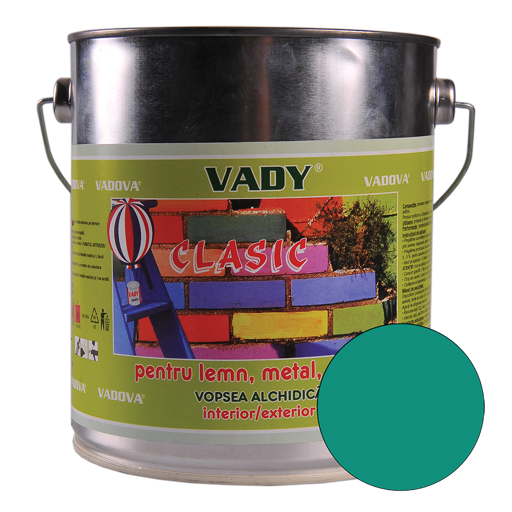 Vopsea alchidica Vady clasic, pentru lemn/metal/zidarie, interior/exterior, verde, 2,5 l imagine 2021 mathaus