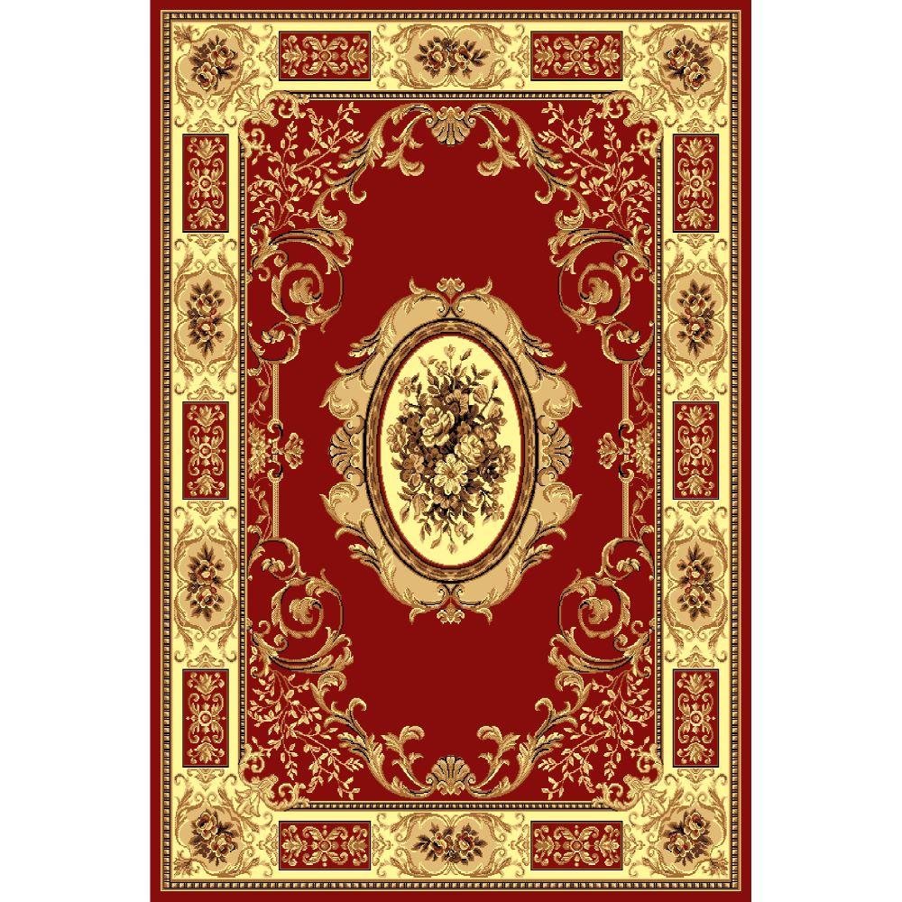 Covor clasic Gold 242/22, polipropilena BCF, bej-maro si rosu, 60 x 110 cm imagine MatHaus