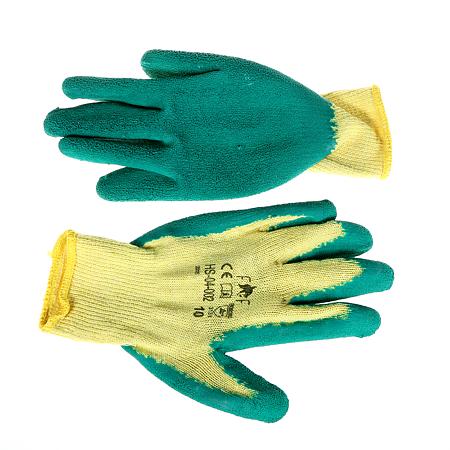 Manusi de protectie HS-04-002, tricot + latex, marimea 10, galben/verde